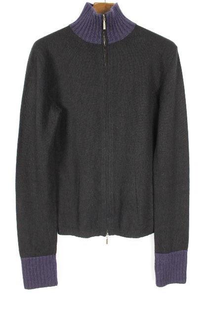 クルチアーニ [ Cruciani ] ★カシミヤ100%★ ジップアップ ニット SIZE[46] メンズ トップス ハイネック セーター ブラック 黒 長袖