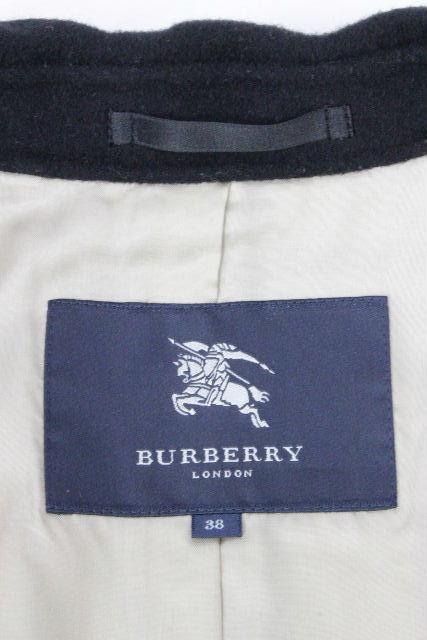 バーバリーロンドン [ BURBERRY LONDON ] カシミヤ混 ベルト ロングコート 黒×チェック柄 SIZE[38] レディース バーバリー アウター