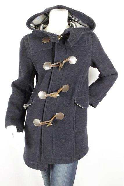 バーバリーロンドン [ BURBERRY ] フード ウール ダッフルコート 紺色×チェック SIZE[XS相当] レディース バーバリー ジャケット コート