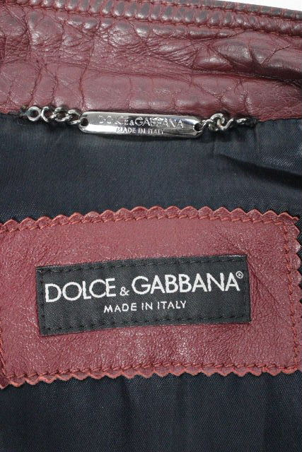 ドルチェ&ガッバーナ [ DOLCE&GABBANA ] プレート ライダースジャケット SIZE[44] メンズ ドルガバ レザー ブルゾン ジャンパー ジャンバー