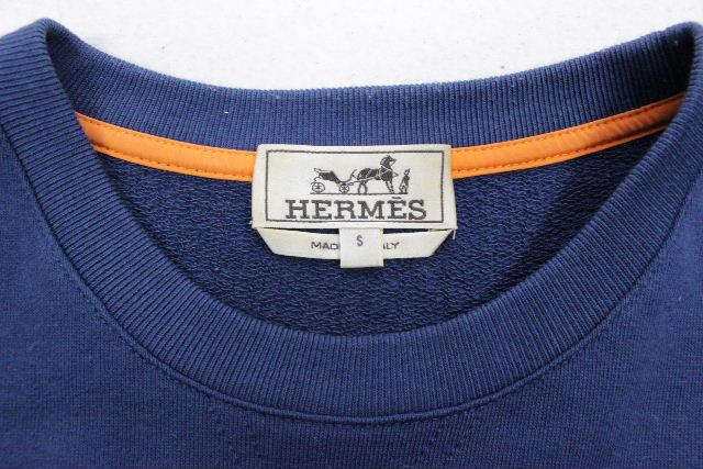 エルメス [ HERMES ] Hロゴ プルオーバー トレーナー ネイビー 紺色 SIZE[S] メンズ トップス カットソー
