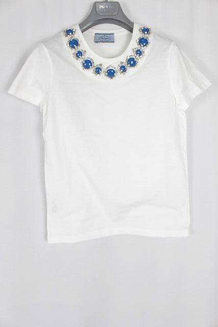 プラダ [ PRADA ] ビジュー Tシャツ ホワイト 白 半袖 SIZE[S] レディース トップス カットソー