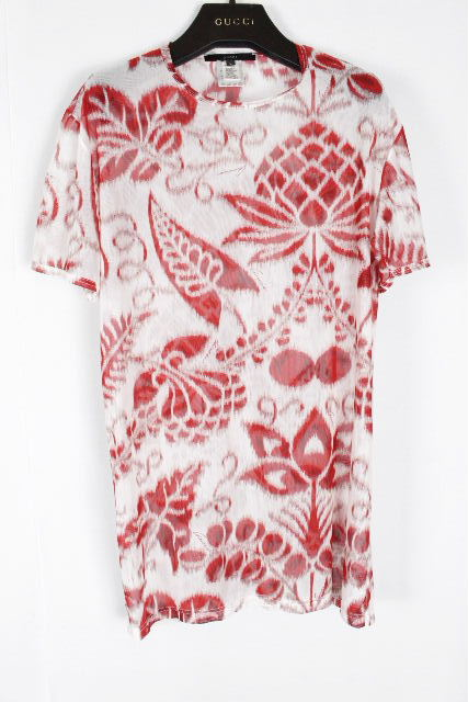 グッチ [ GUCCI ] ボタニカル シースルー カットソー 半袖 SIZE[L] メンズ トップス Tシャツ レッド フラワー 赤 花柄