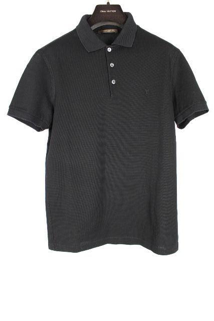 ルイヴィトン [ LOUISVUITTON ] LVロゴ 鹿の子 ポロシャツ ブラック 黒 半袖 SIZE[S] メンズ ヴィトン ビトン トップス シャツ カットソー