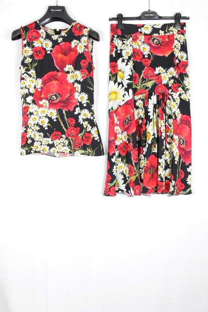 ドルチェ&ガッバーナ [ DOLCE&GABBANA ] フラワー セットアップ ワンピース ブラック 黒 SIZE[40] レディース ドルガバ ブラウス ロングスカート 花柄