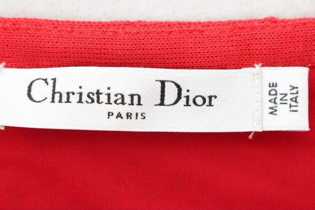 クリスチャンディオール [ ChristianDior ] ノースリーブ フレアーワンピース レッド 赤 レディース ディオール ワンピ