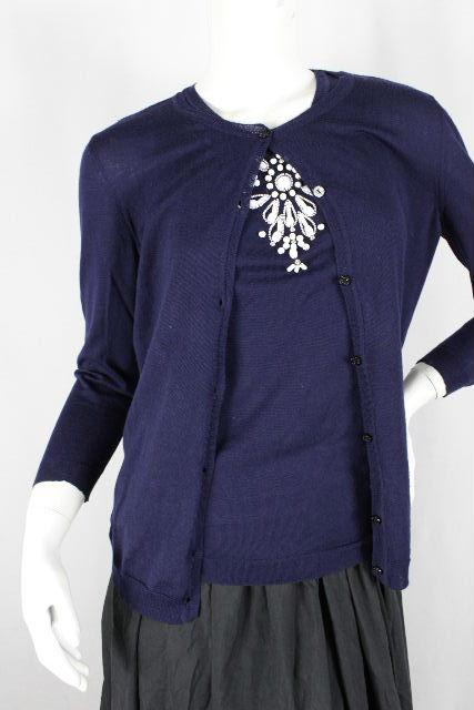 クリスチャンディオール [ ChristianDior ] 装飾ビーズ アンサンブルニット レディース ディオール カーディガン セーター ネイビー 紺色