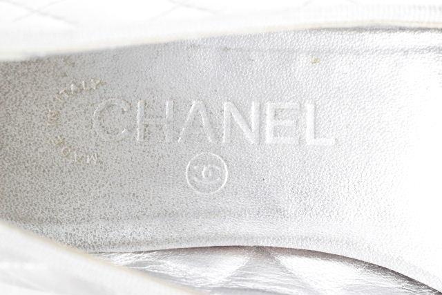 シャネル [ CHANEL ] リボン バレエシューズ SIZE[36] レディース パンプス フラットシューズ バレリーナ グレー シルバー系