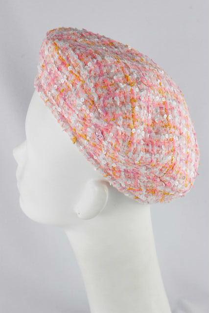 シャネル [ CHANEL ] ツイード スパンコール ベレー帽 ピンク系 SIZE[M] レディース ハット キャップ キャスケット帽 帽子