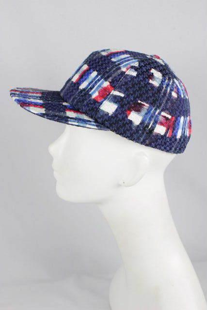 シャネル [ CHANEL ] チェック柄 プリント キャップ ネイビー 紺色 SIZE[FREE] レディース メンズ ベースボールキャップ 帽子 帽
