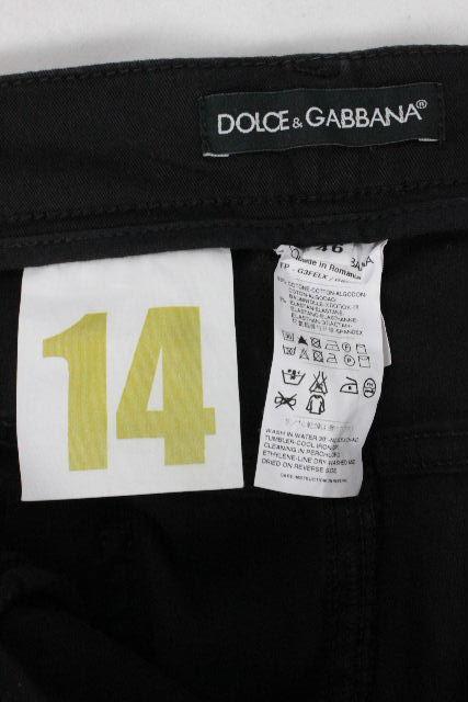 ドルチェ&ガッバーナ [ DOLCE&GABBANA ] 14GOLD プレート スキニー パンツ ブラック 黒 SIZE[46] メンズ ドルガバ ボトムス