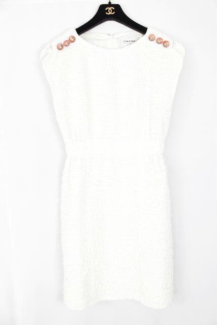 シャネル [ CHANEL ] P56 ツイード ワンピース ホワイト 白 SIZE[38] レディース ノースリ ウール ワンピ