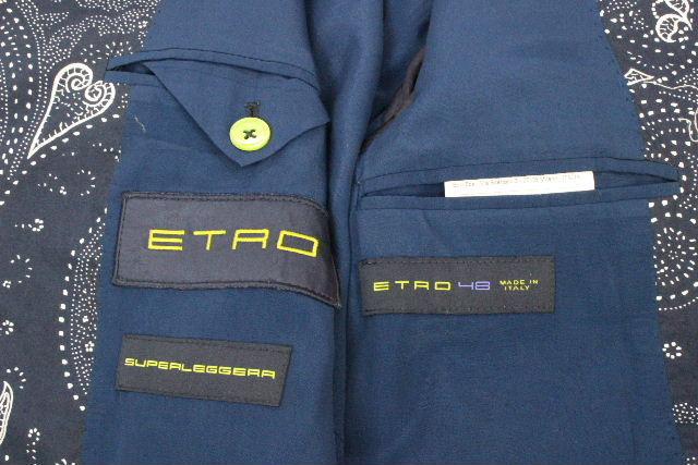 エトロ [ ETRO ] SUPERLEGGERA リネン ペイズリー柄 ジャケット 紺色 SIZE[48] メンズ アウター カジュアルジャケット テーラードジャケット
