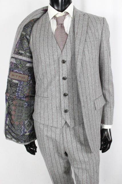 エトロ [ ETRO ] 裏地柄 ウール 3P スーツ グレー SIZE[48] メンズ ジャケット ベスト ジレ スラックスパンツ