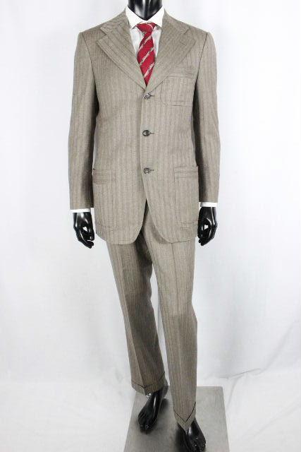 グッチ [ GUCCI ] ウール 3B ストライプ セットアップスーツ ベージュ SIZE[46 48] メンズ シングルジャケット コート パンツ