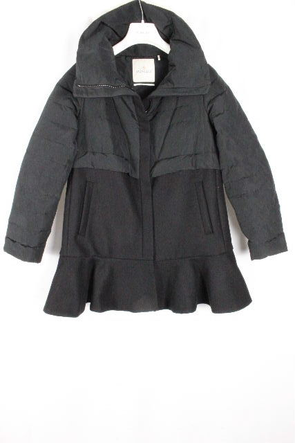 モンクレール [ MONCLER ] フリル ダウン コート ブラック 黒 ロジェ ROSIER SIZE[0] レディース ダウンジャケット PREMIERE