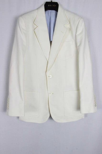 グッチ [ GUCCI ] 2B シングル テーラードジャケット ホワイト 白 SIZE[48R] メンズ アウター カジュアルジャケット