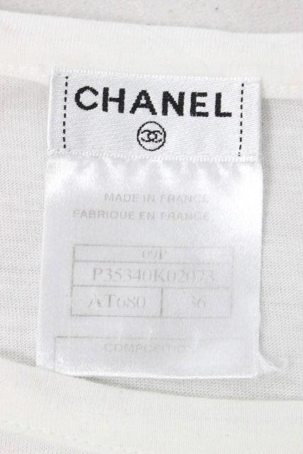 シャネル [ CHANEL ] 09P パール ココマーク リボン カットソー ホワイト 白 SIZE[36] レディース トップス カットソー [ P35340K02073 ]