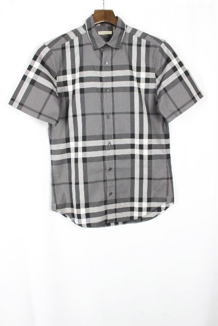 バーバリーブリット [ BURBERRY ] 大き目 チェック柄 シャツ ブラック 半袖 SIZE[S P] メンズ トップス バーバリー カジュアルシャツ