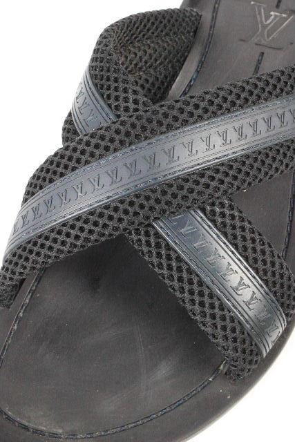 ルイヴィトン [ LOUISVUITTON ] LVロゴ カジュアル サンダル ブラック 黒 SIZE[26 26.5 27cm] メンズ ヴィトン ビトン サンダル ?