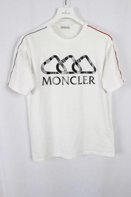 モンクレール [ MONCLER ] ラバー ビッグロゴ Tシャツ ホワイト 白 半袖 SIZE[S] メンズ トップス カットソー