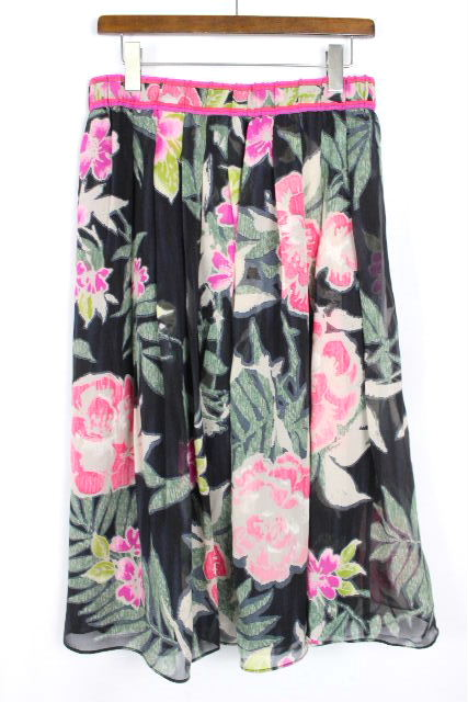 レオナール [ LEONARD ] シルクシフォン フラワー フレアー スカート ブラック 黒 SIZE[48] レディース ボトムス 花柄