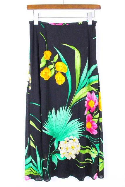 レオナール [ LEONARD ] フラワー ロング スカート ブラック 黒 SIZE[67] レディース ボトムス 花柄