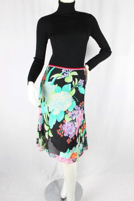 レオナール [ LEONARD ] フラワー フレアースカート ブラック 黒 SIZE[67-93] レディース ボトムス スカート 花柄