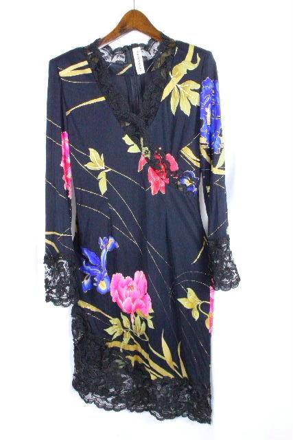 レオナール [ LEONARD ] レース フラワー ドレス ワンピース ブラック 黒 SIZE[38] レディース ストレッチワンピ 花柄