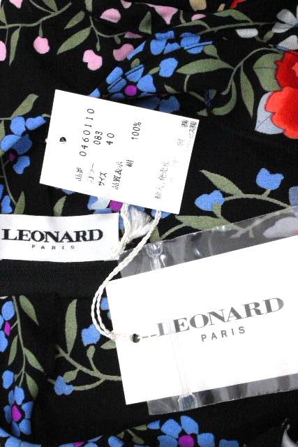 レオナール [ LEONARD ] フリル フラワー ドレス ワンピース ブラック 黒 SIZE[40] レディース ワンピ 花柄
