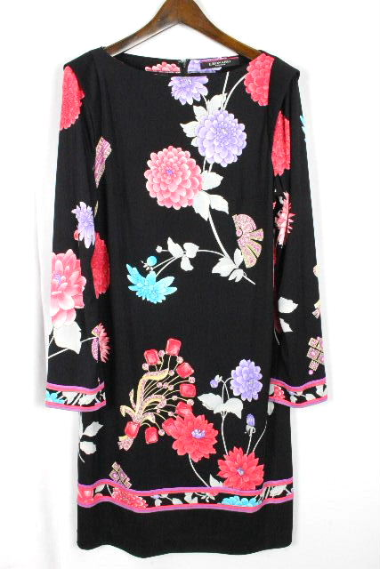 レオナール [ LEONARD ] フラワー ワンピース ブラック 黒 SIZE[42] レディース ドレス ワンピ 花柄