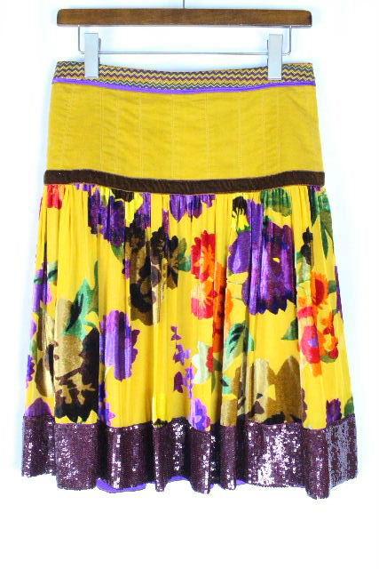 エトロ [ ETRO ] スパンコール フラワー フレアースカート SIZE[42] レディース スカート ボトムス 花柄