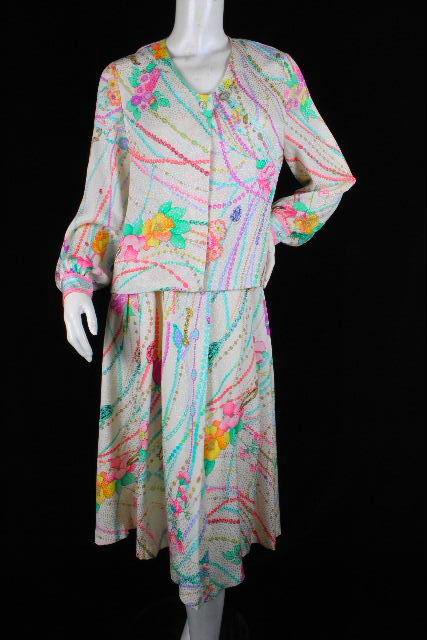 レオナール [ LEONARD ] フラワー セットアップ ワンピース SIZE[9AR] レディース ブラウス ジャケット スカート 花柄