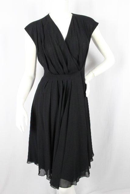 フェラガモ [ Ferragamo ] シルク フレアー ワンピース ブラック 黒 SIZE[38] レディース ノースリーブ ワンピ プリーツスカート