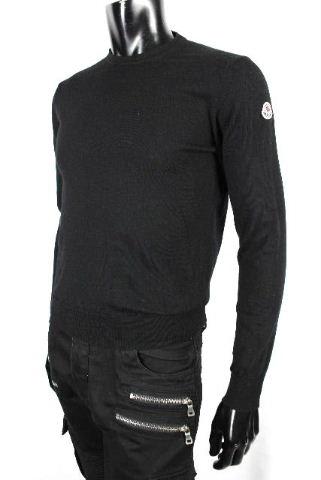 モンクレール [ MONCLER ] ワッペン 薄手 ニット セーター ブラック 黒 長袖 SIZE[S] メンズ トップス プルオーバー カットソー Tシャツ