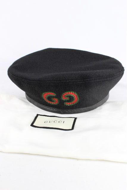 グッチ [ GUCCI ] 19AW GG ウール リボン ベレー帽子 ブラック 黒 レディース キャスケット ベレー帽 帽子