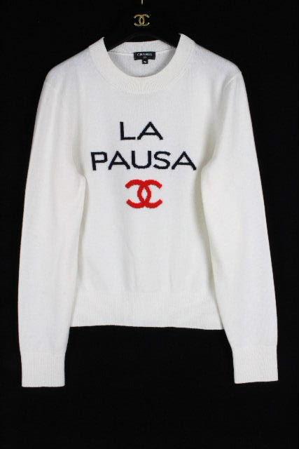シャネル [ CHANEL ] 19C ラパウザ プルオーバー カシミヤ ニット セーター P60439 [34] レディース トップス ホワイト 白 LAPAUSA