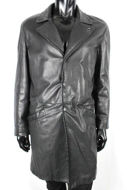 アルマーニ [ ARMANI ] ラムレザー コート ブラック 黒 SIZE[48] メンズ アウター ロング ジャケット