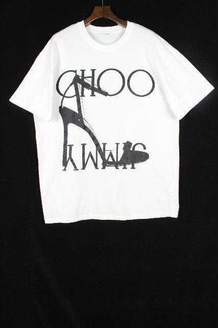 ジミーチュウ [ JIMMYCHOO ] ビッグロゴ×ヒール オーバーサイズ Tシャツ 半袖 SIZE[L] メンズ ジミー トップス カットソー ホワイト 白
