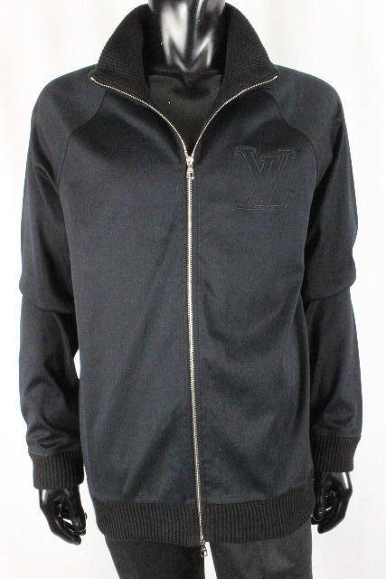 ルイヴィトン [ LOUISVUITTON ] ビッグLVロゴ ジップアップ ジャージ ブラック 黒 SIZE[XL] メンズ ヴィトン ビトン ジャケット パーカー トレーナー