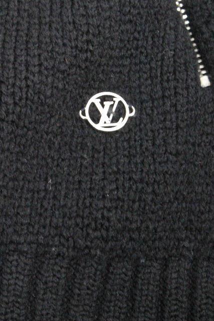ルイヴィトン [ LOUISVUITTON ] 16AW サークルロゴ ジップアップ セーター ブラック 黒 SIZE[S] メンズ ヴィトン ビトン ニット ジャケット ブルゾン