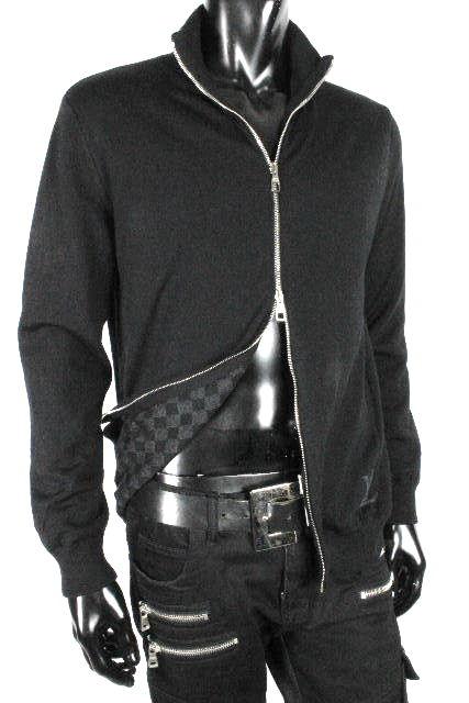 ルイヴィトン [ LOUISVUITTON ] LVロゴ ダミエグラフィット ジップアップ セーター SIZE[S] メンズ ヴィトン ビトン ダミエ ニット ジャケット ブラック 黒