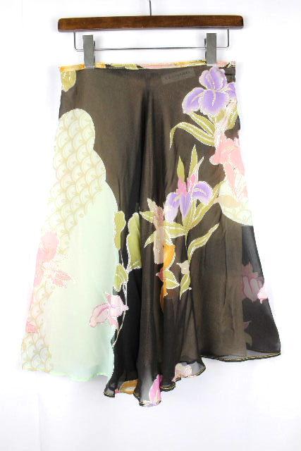 レオナール [ LEONARD ] シフォン フラワー フレアースカート ブラウン 茶色 SIZE[38] レディース スカート ボトムス 花柄