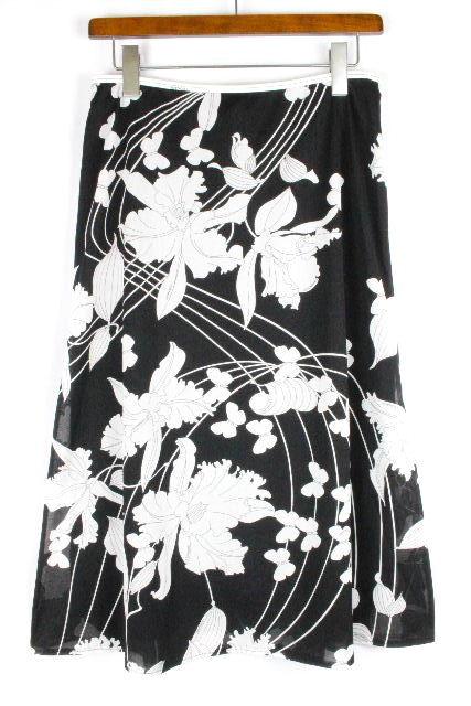 レオナール [ LEONARD ] フラワー フレアースカート ブラック 黒 SIZE[76] レディース ロング スカート ボトムス 花柄