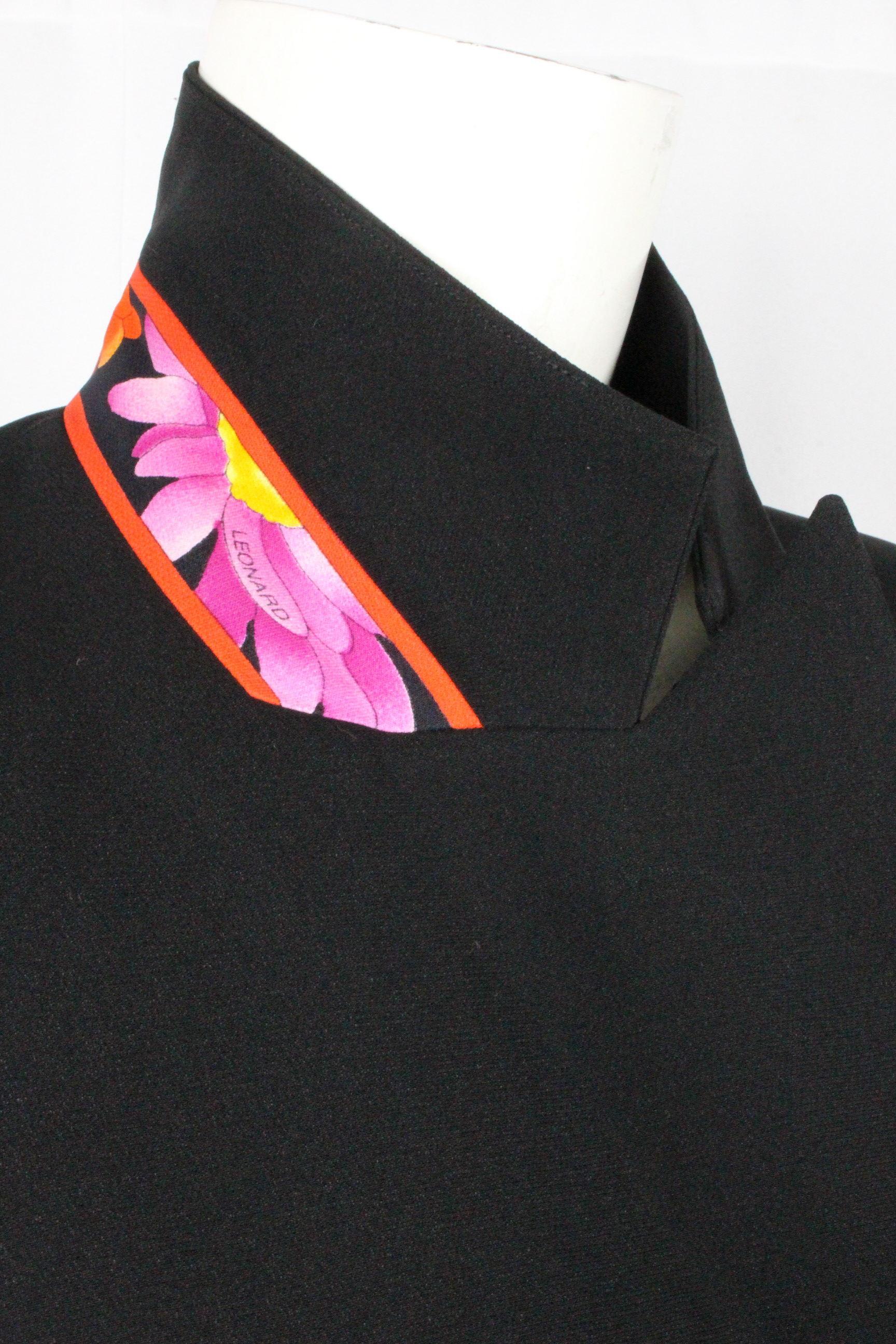 レオナール [ LEONARD ] フラワー テーラード ジャケット ブラック 黒 SIZE[9AR] レディース アウター トップス ロングジャケット 花柄