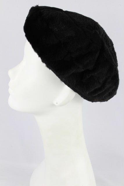 シャネル [ CHANEL ] ラパンファー デカココマーク カシミヤ ベレー帽 ブラック 黒 レディース ニット帽 帽子