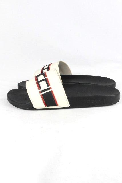 グッチ [ GUCCI ] ロゴ シャワーサンダル ブラック 黒 SIZE[7/26cm 26.5cm 27㎝] メンズ スライドサンダル スニーカー