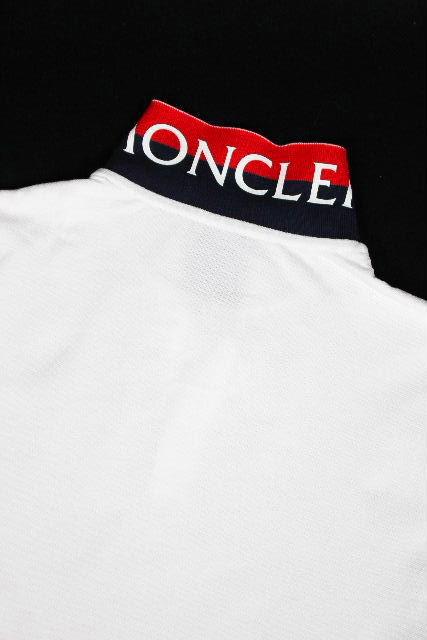 モンクレール [ MONCLER ] トリコロール ロゴ 鹿の子 ポロシャツ ホワイト 白 半袖 SIZE[S] メンズ トップス カットソー Tシャツ