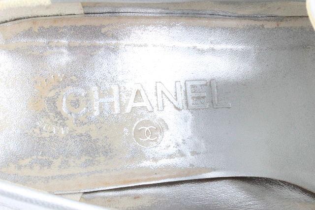 シャネル [ CHANEL ] ココマーク チャンキー パンプス シルバー SIZE[38.5] レディース ローヒール シューズ