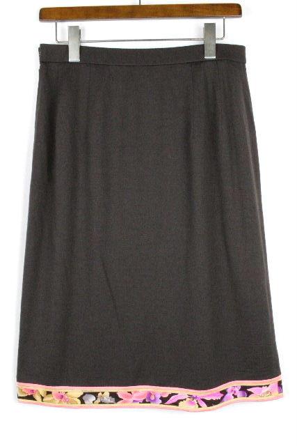 レオナール [ LEONARD ] フラワー ウール フレアー スカート ブラウン 茶色 SIZE[76] レディース スカート ボトムス 花柄